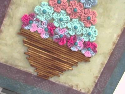 Quadro com flores em croche