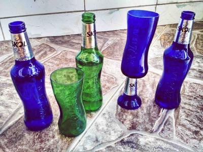 Aprenda a fazer copos com garrafa de Skol beats