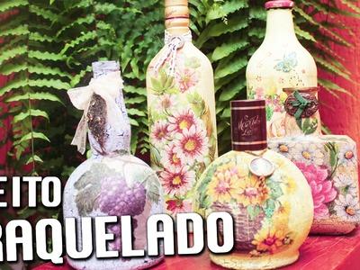 EFEITO CRAQUELADO EM GARRAFA ❤ - CURSO DE ARTESANATO BELLA ART'S