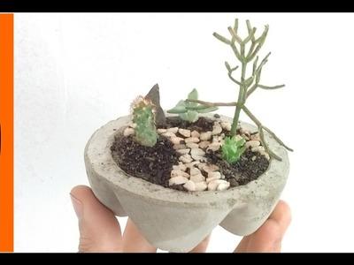 Faça você Mesmo - Vaso de Areia e Cimento com garrafa PET como molde - facil e barato