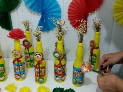Aula 75 - Como fazer forminhas pequenas em papel de seda e garrafinhas decoradas com bolas de festa