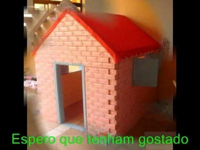Casinha de bonecas para crianças de caixas de leite Tetra Pak, dollhouse for kids