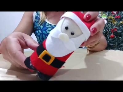 Como fazer Papai Noel usando rolinho de papel higiênico e feltro