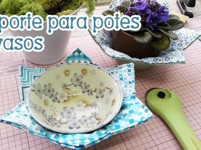 """#PatchworkComTiaLili e #QuiltandoNasFérias: """"pot-holder"""" ou suporte para potes e vasos"""