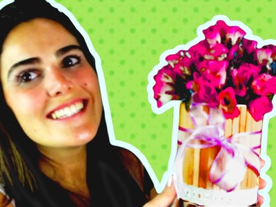 Vaso de Flor com Palito de Picolé | Ideia de Centro de Mesa