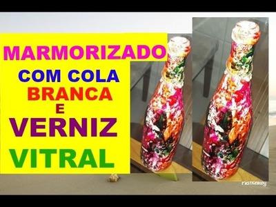 MARMORIZADO COM COLA BCA E VERNIZ VITRAL