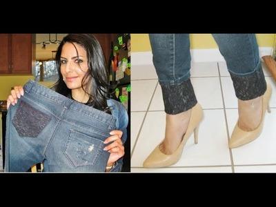 Calça jeans com detalhe de renda by Customização & Cia