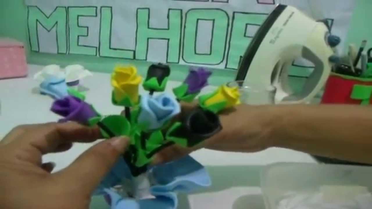 Como fazer um vaso de flor de E.V.A