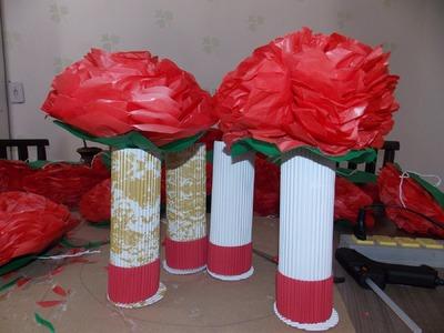 Decoração de mesa - como fazer flores de papel seda