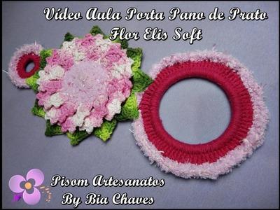 Aula - Porta Pano de Prato em Crochê Flor Elis Soft
