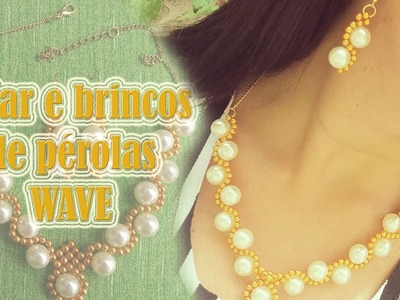 Colar e brincos de pérolas WAVE -  Pearl necklace and earrings WAVE