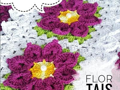 Flor Tais Crochê | Passo a Passo | Parte 1 Tapete Escama | Luana Jaworski