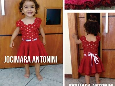 Passo a Passo em foto Vestido Infantil de Crochê Vermelho Jocimara Antonini