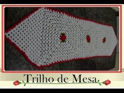 Trilho de mesa em crochê  ( PARTE 3)