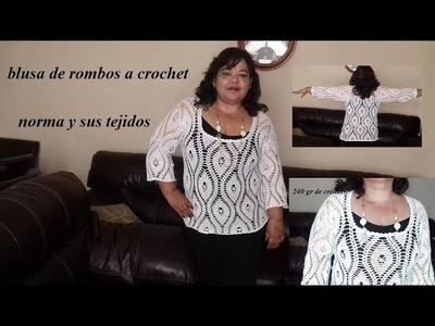 Blusa blanca a crochet manga corta o larga parte 4