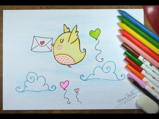 Como Desenhar Passarinho Kawaii Passo A Passo