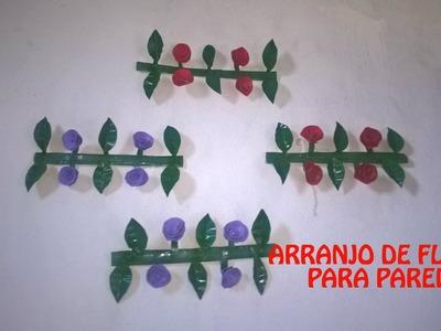 COMO FAZER - Arranjo de Flores com Garrafa PET (para Parede)