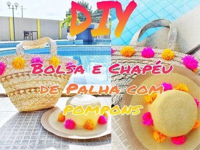 ✂️ DIY Verão | Bolsa e Chapéu  de palha com pompons