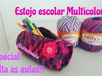 Estojo escolar em crochê Multicolor