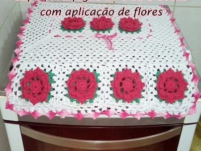Jogo de cozinha   Capa de fogão com aplicação de flores