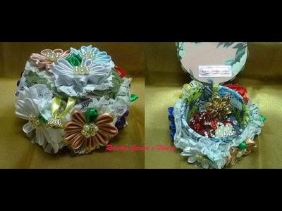 Kanzashi #88 - Flor de Tecido Cetim-  Lindo Porta Jóias ! - DIY -  Jewelry Flower. サテン花. 簪
