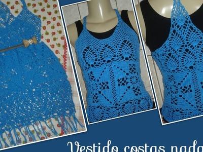 Versão canhotos: Vestido costas nadador em crochê  ( 2° parte) # Elisa Crochê