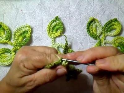 Cordão trançado com folhas parte 1(cristina crochê)