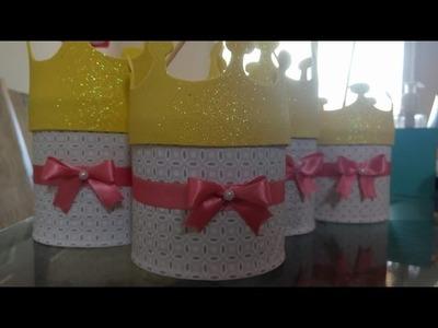 DIY - Decorando Lata com Tecido - festa de aniversário. centro de mesa