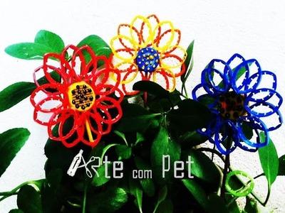 DIY GARRAFAS PET. FLOR DE TAMPINHA E LACRES DE GARRAFAS PET. ARTE com PET