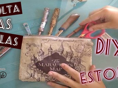 ESPECIAL VOLTA AS AULAS :: DIY :: Estojo Mapa do Maroto.Harry Potter #veda08