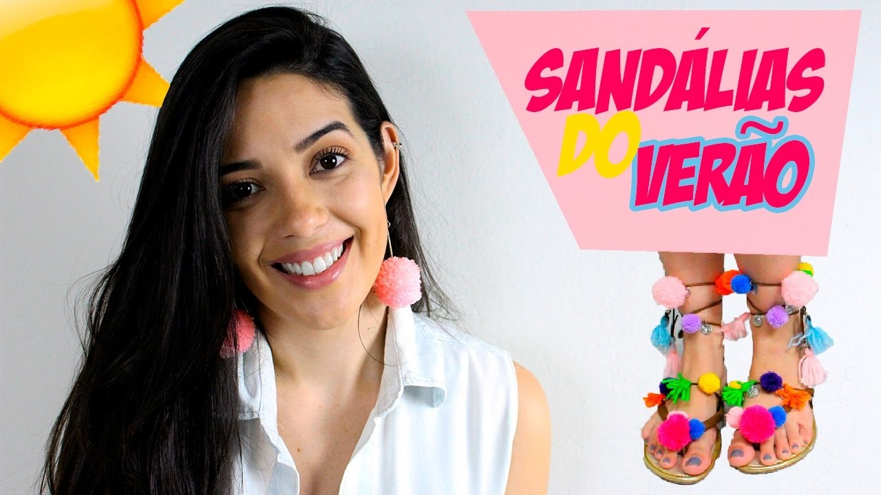 SANDÁLIA E BRINCO DE POMPOM  | DIY