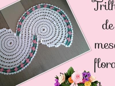 Versão canhotos:Trilho de mesa floral ( 1° parte ) # Elisa Crochê