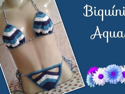 Versão destros: Biquíni aqua em crochê P (1° parte) # Elisa Crochê
