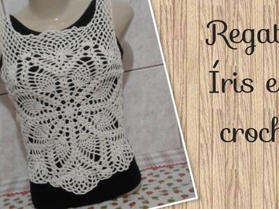 Versão destros: Regata Íris em croche P,M,G e GG ( 1° parte) # Elisa Crochê