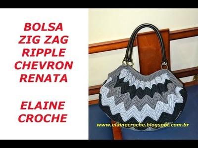 BOLSA RENATA EM CROCHÊ - ZIG ZAG - RIPPLE - CHEVRON