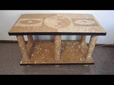 Como fazer uma mesa de papelão e casca de ovo
