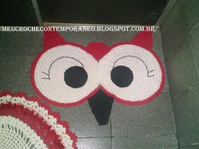 Jogo de Banheiro Coruja com Barbante nº 8, tapete do lavabo Rosto de Coruja