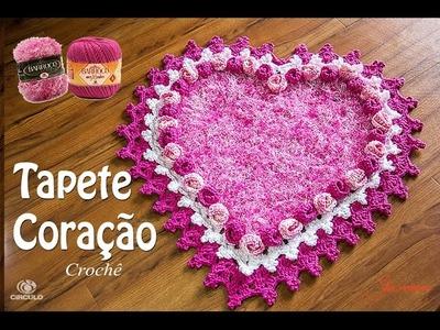 Tapete de Crochê Coração botão de Rosa - Parte 2 - Simone Eleotério