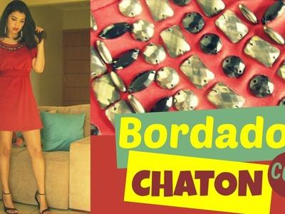 Vestido Burgundy - Bordado com Chatons