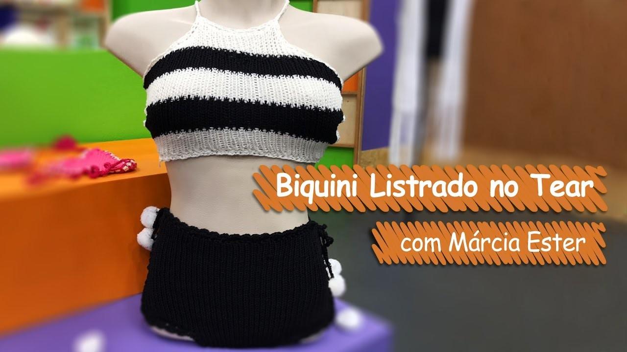 Biquini Listrado no Tear - Márcia Ester   Vitrine do Artesanato na TV - Gazeta