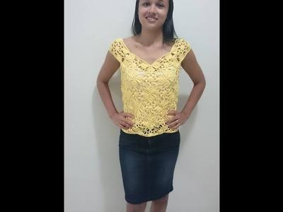 Blusa ou cropped em croche com Square parte 1