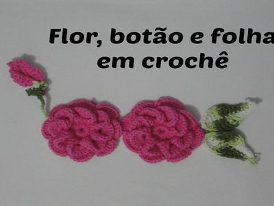 Folha, botão e flor em crochê para aplicação em tapete | Marta Alves