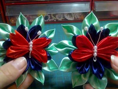 Kanzashi #90 - Flor  Tecido Cetim-  Borboleta para Cortinas ! - DIY.サテン花. 簪