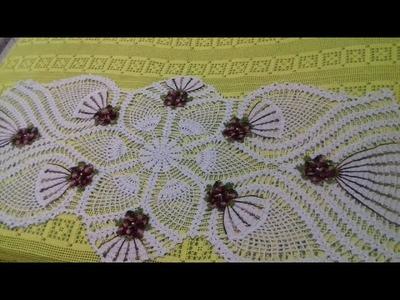 Toalha  Centro Trilho  Caminho de Mesa em Croche em Ponto Abacaxi   2 2   Com Cristina Coelho Alves