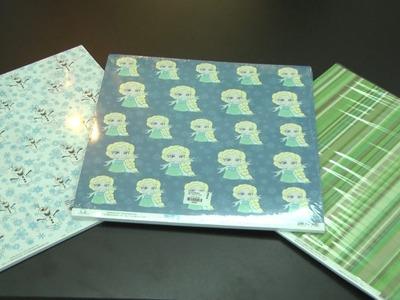 Vitrine de produtos Celga - Coleção de papéis da OK scrapbook.