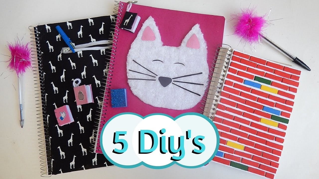 5 idéias de Diy para a volta as aulas (cadernos, caneta, etc).