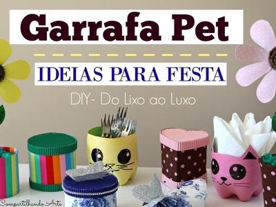 Artesanato com Garrafa Pet - 5 ideias para festa - DIY  Do lixo ao Luxo - Compartilhando Arte