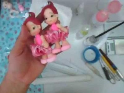 Boneca bailarina em biscuit pra topo de bolo, alt. 11cm