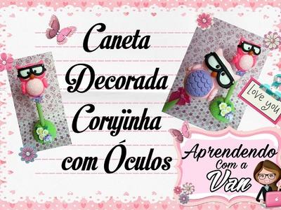 (DIY) Caneta Corujinha de Óculos em Biscuit (Dia dos Professores)