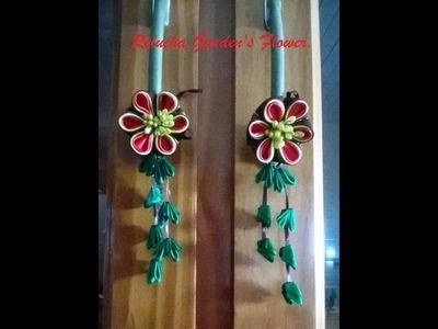 Kanzashi #91 - Flor Tecido Cetim- Puxadores para armarios. Cristaleiras ! - DIY . サテン花. 簪
